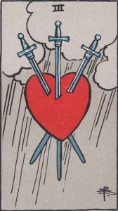 3 of Swords from the Rider Waite Smith deck