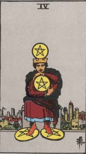 4 of Pentacles from the Rider Waite Smith Tarot