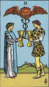 2 of Cups from the Rider Waite Smith Tarot