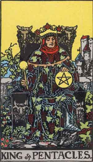 King of Pentacles from the Rider Waite Smith Tarot