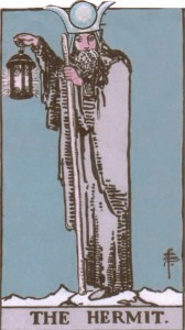 The High Priestess wearing the Hermit's clothing