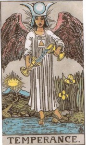 The High Priestess dressed in Temperance's Clothing