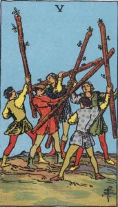5 of Wands from the Rider Waite Smith Tarot