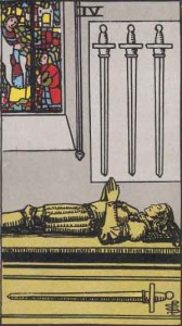 4 of Swords from the Rider Waite Smith Tarot