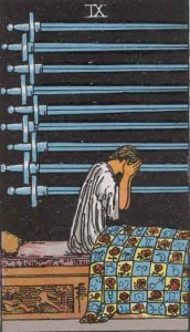 9 of Swords from the Rider Waite Smith Tarot