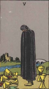 5 of Cups from the Rider Waite Smith Tarot