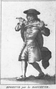 18th century dowser from Pierre le Brun, Histoire critique des pratiques superstitieuses, (Jean-Frederic Bernard, 1733–1736)