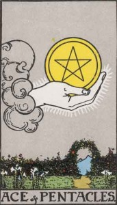 Ace of Pentacles from the Rider Waite Smith Tarot