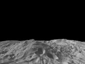 Oblique View of Vesta's South Polar Region