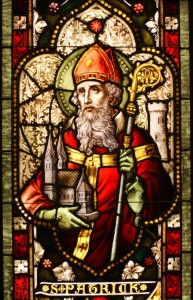 Saint Patrick stained glass window from Cathedral of Christ the Light, Oakland, CA