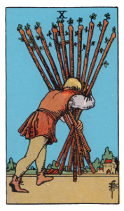 10 of Wands from the Smith Waith Tarot