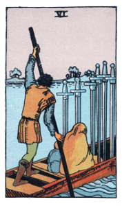 6 of Swords from the Smith Waite Tarot