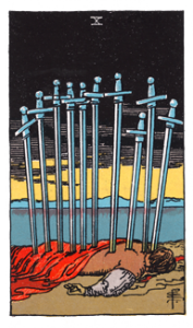 10 of Swords from the Smith Waite Tarot