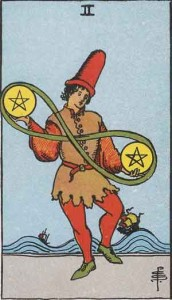 2 of Pentacles from the Smith Waite Tarot
