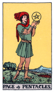 Page of Pentacles from the Smith Waite Tarot