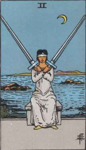 2 of Swords from the Smith Waite Tarot