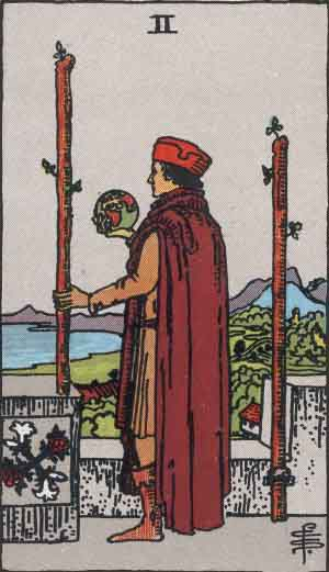 2 of Wands from the Smith Waite Tarot
