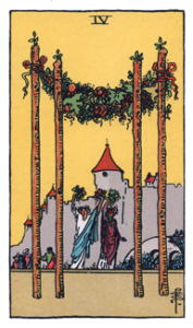 4 of Wands from the Smith Waite Tarot