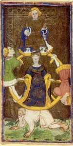 Wheel of Fortune from the Visconti-Sforza Tarot
