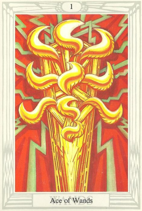 Ace of Wands from the Thoth Tarot by Aleister Crowley and Frieda Harris