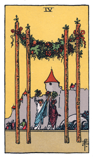 4 of Wands from the Rider Waite Smith Tarot
