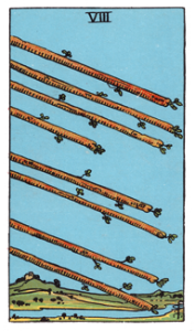 8 of Wands from the Smith Rider Waite Tarot