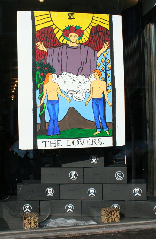 Lovers window display, Dutil Denim, Toronto