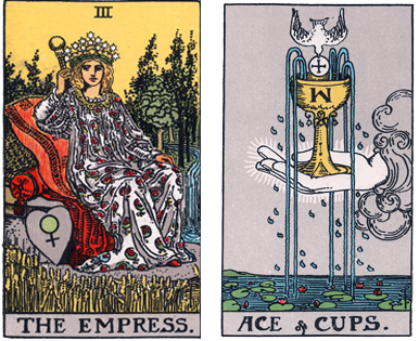 Spring - the Empress and the Ace of Cups