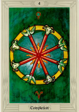 4 of Wands from the Thoth Tarot by Aleister Crowley and Lady Frieda Harris
