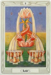 2 of Cups - Thoth Tarot by Aleister Crowley and Lady Frieda Harris