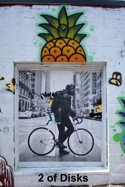 2 of Disks - Toronto Graffiti Tarot