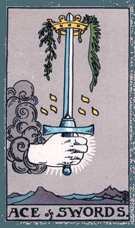 Ace of Swords from the Rider Waite Smith Tarot