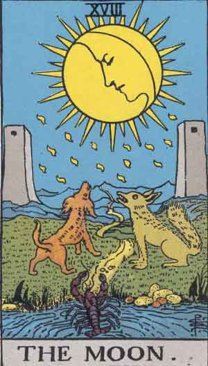 #18 The Moon - Rider Waite Smith Tarot
