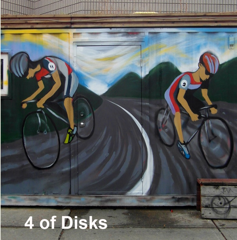 4 of Disks - Toronto Graffiti Tarot