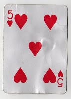 Five of Hearts from Mean Jean's Found Deck