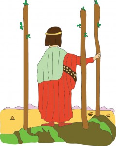 Three of Wands from Georgie's Tarot