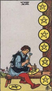 8 of Pentacles from the Rider Waite Smith deck