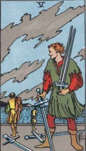 5 of Swords from the Rider Waite Smith Deck