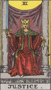 #11 Justice from the Rider Waite Smith Tarot