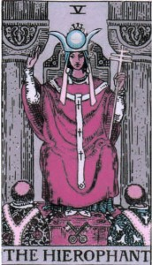 The High Priestess dressed as the Hierophant
