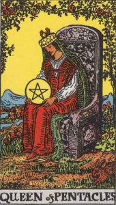 Queen of Disks from the Rider Waite Smith tarot