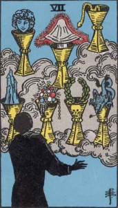7 of Cups from the Rider Waite Smith Tarot