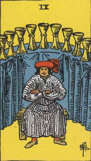 9 of Cups from the Rider Waite Smith Tarot