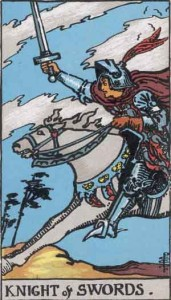 Knight of Swords from the Rider Waite Smith Tarot