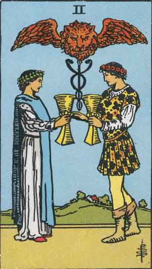 2 of Cups from the Smith Waite Tarot