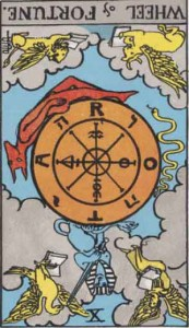 #10 Wheel of Fortune Reversed from the Smith Waite Tarot
