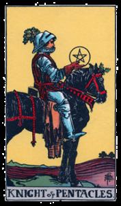 Knight of Pentacles from the Smith Waite Tarot