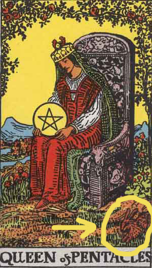 Queen of Pentacles from the Rider Waite Smith Tarot highlighting the Bunny