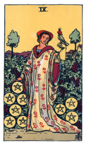 9 of Pentacles from the Rider Waite Smith Tarot