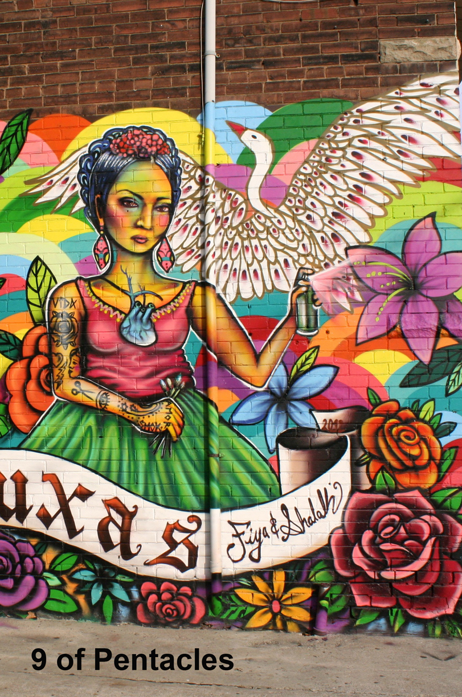 9 of Pentacles from the Toronto Graffiti Tarot by Georgianna Boehnke